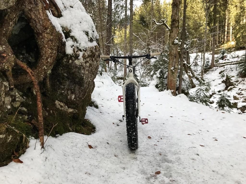 Fatbiken auf verschneitem Forstweg